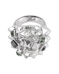 Karl Lagerfeld - Metallic Pyramid Cluster Ring - Size 6 - Lyst
