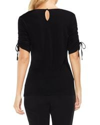 Vince Camuto - Black Ruched Elbow Sleeve Top - Lyst