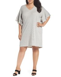 Lucky Brand - White Stripe Ruffle Minidress (plus Size) - Lyst