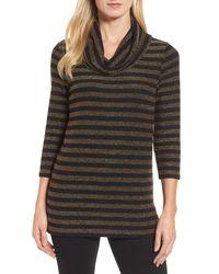 Chaus - Multicolor Metallic Stripe Cowl Neck Shirt - Lyst