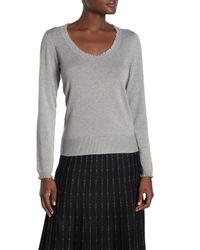 Max Studio Gray Scoop Neck Ruffled Sweater