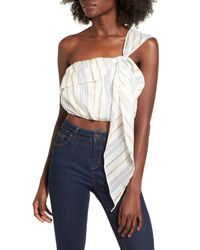 Tularosa - Blue Vanessa One-shoulder Crop Top - Lyst