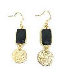 Charlene K - Black 14k Yellow Gold Plated Sterling Silver Onyx Disc Double Drop Earrings - Lyst