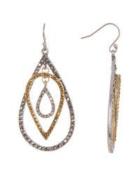 Lucky Brand - Metallic Multi Pave Teardrop Earrings - Lyst