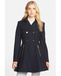 Laundry by Shelli Segal Blue Double Breasted Fit & Flare Coat (regular & Petite)