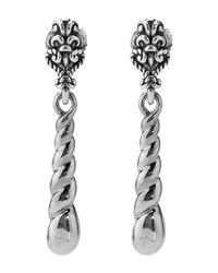 Relios - Metallic Sterling Silver Dangling Twist Medallion Stud Earrings - Lyst