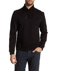 Calvin Klein | Black Quarter-zip Ribbed Collar Pullover for Men | Lyst