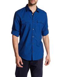 Calvin Klein   Blue Chambray Stripe Dobby Roll Tab Shirt for Men   Lyst