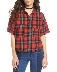 Articles of Society - Red Raw Edge Grommet Plaid Top - Lyst