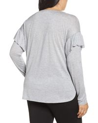 Two By Vince Camuto - Gray Long Sleeve Ruffle Shoulder Top - Lyst