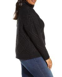 Caslon Black Caslon Chunky Cable Knit Turtleneck Sweater
