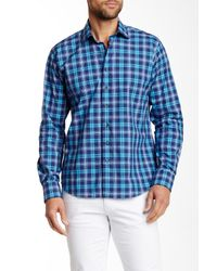 Tocco Toscano | Blue Spread Collar Plaid Shirt for Men | Lyst