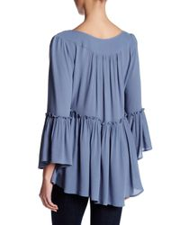 ANAMÁ - Blue Self-tie Ruched Detail Blouse - Lyst
