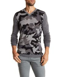 Autumn Cashmere Gray Camo Inked Cashmere Sweater for men