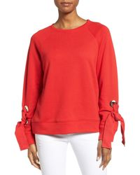 Halogen - Red Tie Sleeve Sweatshirt (petite) - Lyst