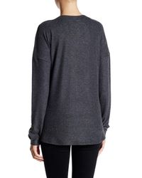 Go Couture Gray Side Slit V-neck Sweater