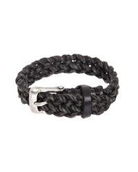 John Varvatos - Black Wide Leather Cuff Bracelet for Men - Lyst