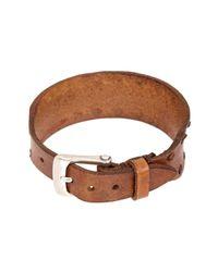 John Varvatos - Brown Leather Interlay Perf Cuff Bracelet for Men - Lyst