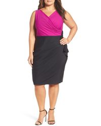 Alex Evenings - Black Embellished Side Ruched Colorblock Sheath Dress (plus Size) - Lyst