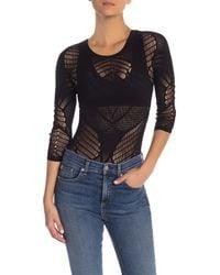 Wolford Black Net Lace Thong Bodysuit