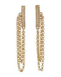 Cole Haan - Metallic Textured Bar & Chain Drop Earrings - Lyst