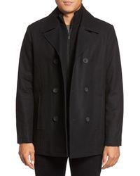 Kenneth Cole | Black Wool Blend Peacoat for Men | Lyst