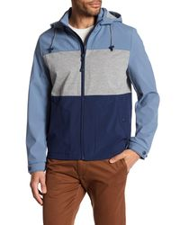 Kenneth Cole | Blue Hooded Colorblock Jacket for Men | Lyst