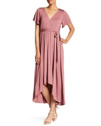 West Kei Purple Flutter Sleeve High/low Wrap Dress