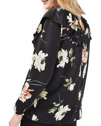 TOPSHOP - Black Floral Ruffle Maternity Top - Lyst