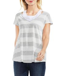 Vince Camuto Gray Striped Layered T-shirt