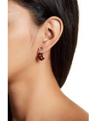 Joe Fresh - Black Front/back Cry Flower Cz Earrings - Lyst