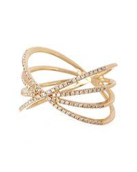 EF Collection Metallic 14k Gold Pave Diamond Sunburst Ring - Size 8 - 0.30 Ctw