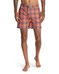 Bugatchi Orange Print Swim Trunks for men