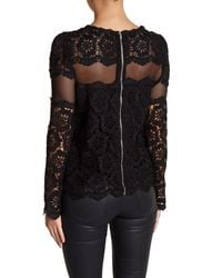 Romeo and Juliet Couture Black Woven Lace Long Sleeve Blouse
