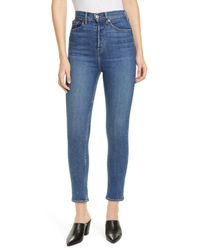 Re/done Blue Ultra High Rise Ankle Crop Jeans