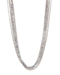 Joe Fresh | Metallic Linked & Beaded Multi Row Necklace | Lyst