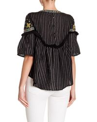 Haute Rogue - Black Embroidered Striped Bell Sleeve Top - Lyst
