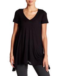 Go Couture Black Short Sleeve V-neck Tee