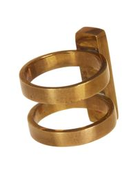Soko - Metallic Horn Bar Double Band Ring - Lyst