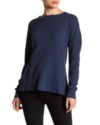 Go Couture | Blue Long Sleeve Hi-lo Thermal Tee | Lyst