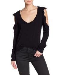 Pam & Gela - Black Long Sleeve Drapey Cold Shoulder Tee - Lyst