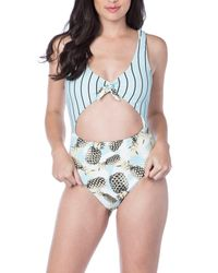 The Bikini Lab - Blue Printed One-piece Swimsuit - Lyst