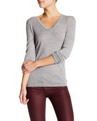 INHABIT Gray Ultrafine Cashmere Rounded V-neck Sweater
