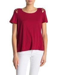 Michael Stars Red Crew Neck Cutout T-shirt