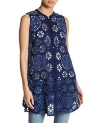 Johnny Was - Blue Floral & Checkered Embroidered Tunic - Lyst