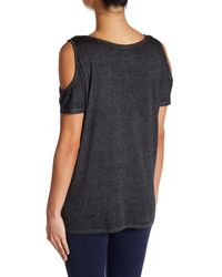 Marc New York - Black Synth Knit Cold Shoulder Tank - Lyst