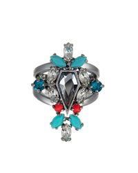 Rebecca Minkoff - Multicolor Clustered Stones Shield Ring - Size 7 - Lyst