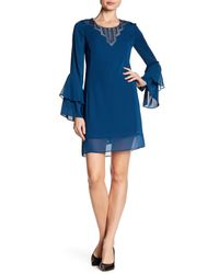 Laundry by Shelli Segal Blue Lace Trim Bell Sleeve Dress