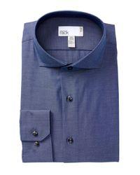 Nordstrom Blue Solid Trim Fit Dress Shirt for men