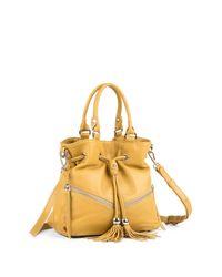 Lancaster Paris Yellow Soft Vintage Clara Leather Shoulder Bag